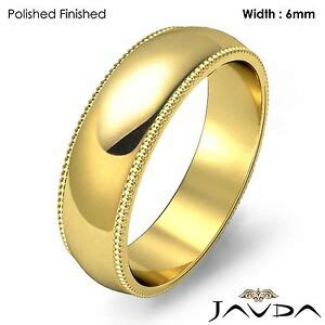 solid men wedding band dome milgrain edge ring 6mm 18k gold yellow 8 9g 11 11 75 ebay