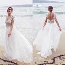 vestido de novia wedding dress vestidos de novia 2015 white chiffon beaded wedding dresses backless bridal gowns