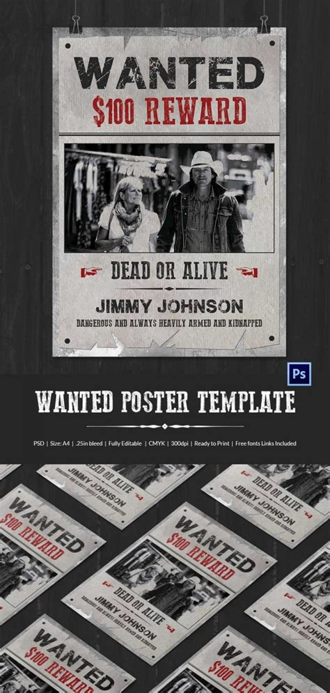 wanted poster template   printable word psd