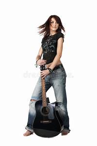 Teenager Girl Playing An Acoustic Guitar Stock Photo ...