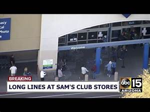 LIVE: Long lines at Sam's Club stores - YouTube
