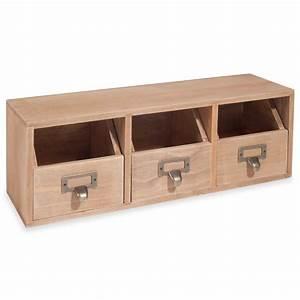 Rangement Tiroir Bois : rangement 3 tiroirs en bois slow home maisons du monde ~ Edinachiropracticcenter.com Idées de Décoration