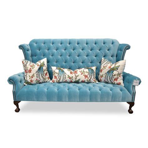 blue velvet tufted sofa hollywood glam furniture haute