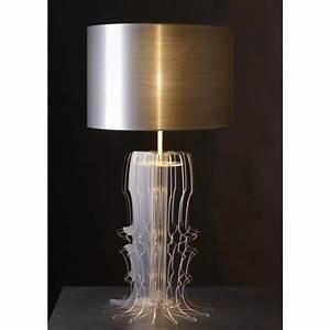 Lampe En Cuivre : lampe transparente en plexi et abat jour or argent ou cuivr 44 lights design ~ Carolinahurricanesstore.com Idées de Décoration