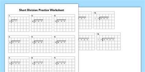 ks2 short division practice worksheet