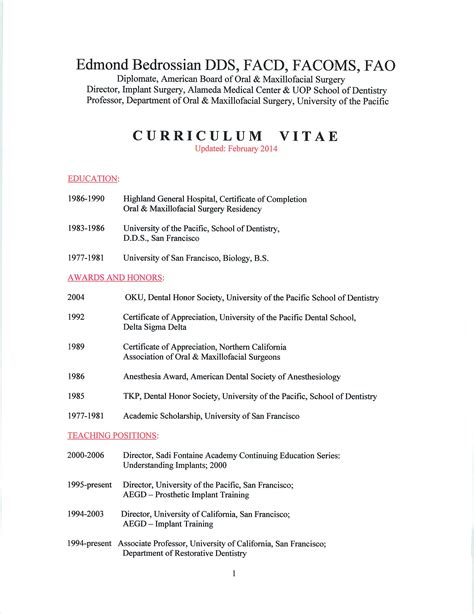 curriculum vitae for dr edmond bedrossian san francisco