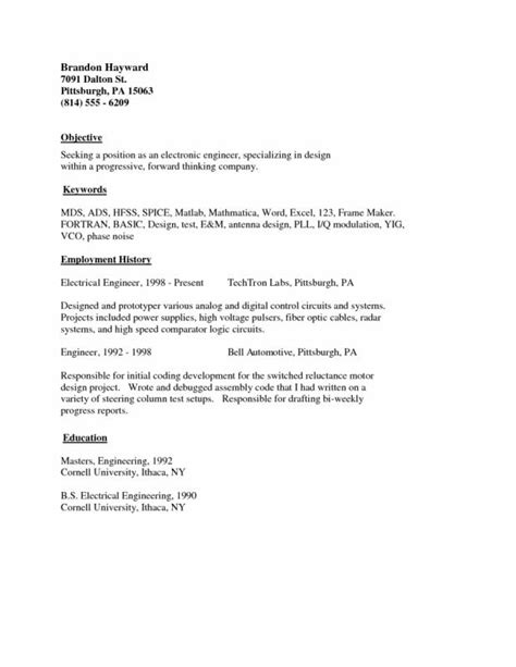 Exle Simple Resume by Simple Resume Exles Template Business