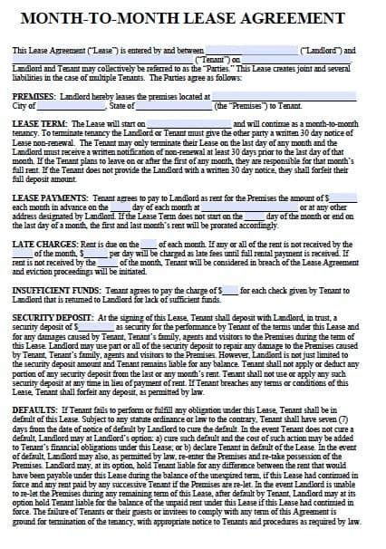 month  month rental agreements   word templates