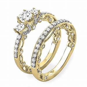 165 carat ctw 14k gold round diamond ladies vintage for Gold diamond wedding ring sets