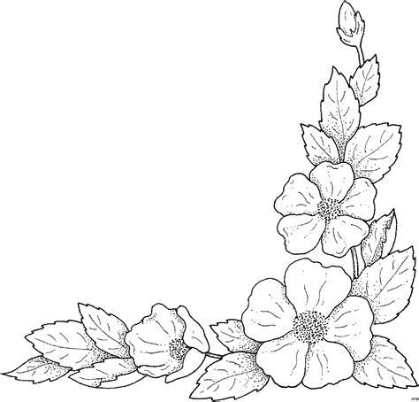 blaetter unterer rechter rand ausmalbild malvorlage blumen