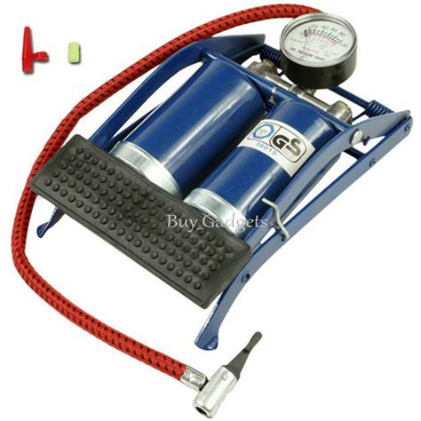 New Twin Double Barrel Cylinder Air Inflator Foot Pump Car