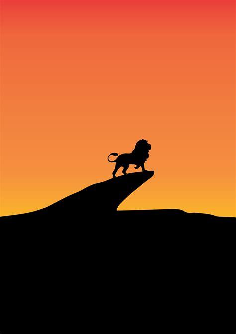 wallpaper lion king silhouette sunset   minimal