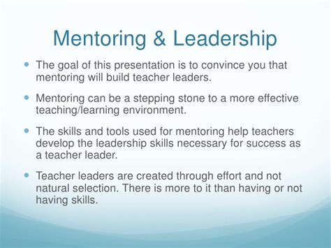mentoring builds leadership skills  teacher effectiveness