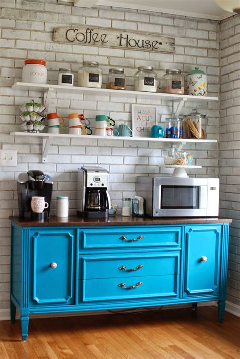 Some of these small fridges even come with their own freezers. Splashing Color into Your Coffee Bar- have a mini fridge, sink, and microwave with coffee making ...