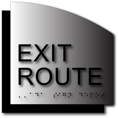 exit route sign  brushed aluminum radius cut