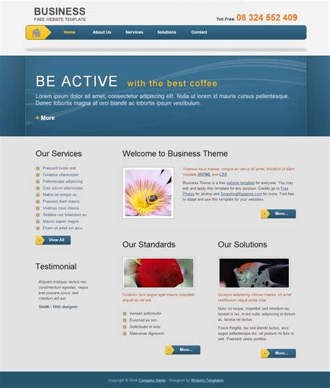 Free Website Template Business Template Free Templates