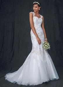 david39s bridal sample tulle over satin cap sleeve trumpet With satin trumpet wedding dress