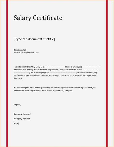 salary certificate format  word simple salary slip
