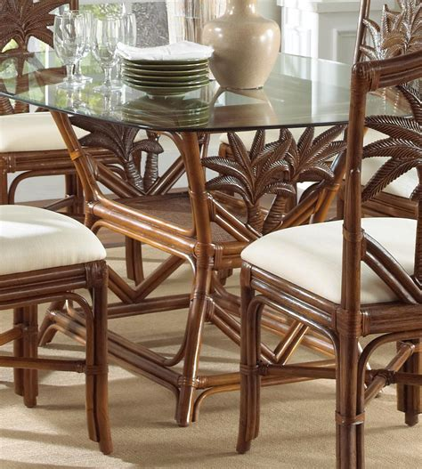 indoor rattan wicker rectangular dining table