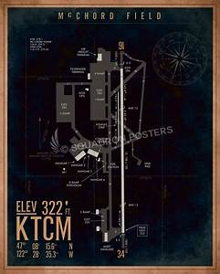 Mcchord Afb Ktcm Airfield Map Art  U2013 Squadron Posters