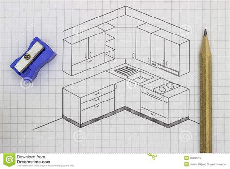 croquis cuisine croquis de cuisine image stock image du architecte pousse 45835319