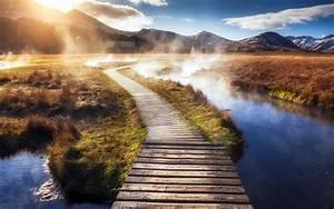 Nature, Landscape, Path, Walkway, Mist, Mountain, Grass, Sunrise, River, Clouds, Water