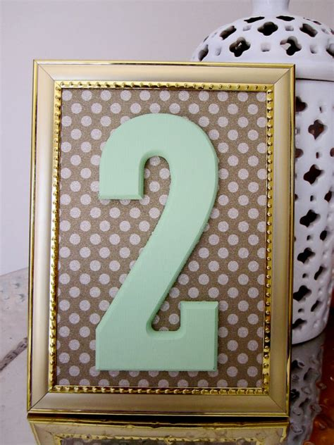 picture frames for wedding tables items similar to mint gold table numbers with frame