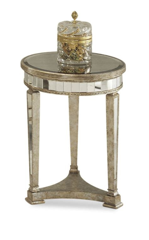 silver leaf end table borghese mirrored round end table antique mirror silver