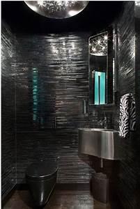 15 bold and beautiful black bathroom design ideas for Black toilet bathroom design