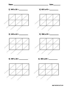 lattice multiplication 3 digit by 2 digit 10 pages by