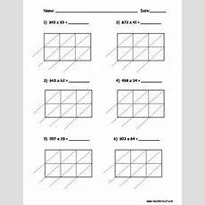 Lattice Multiplication 3 Digit By 2 Digit  10 Pages By Teacher Vault