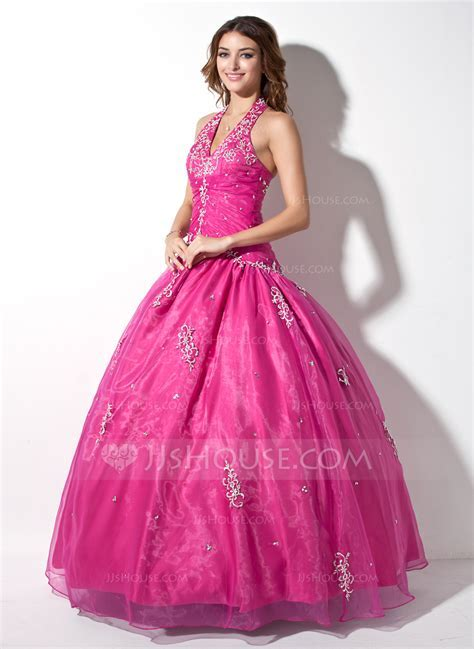 Ball Gown Halter Floor Length Organza Quinceanera Dress