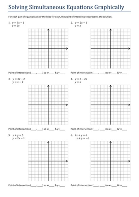 gcsesimultaneous equations graphically worksheet