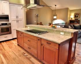 split level kitchen island big pot and pan drawers pullout spice traditional kitchen