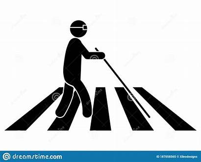 Crosswalk Icon Blind Glasses Cane Stick Person