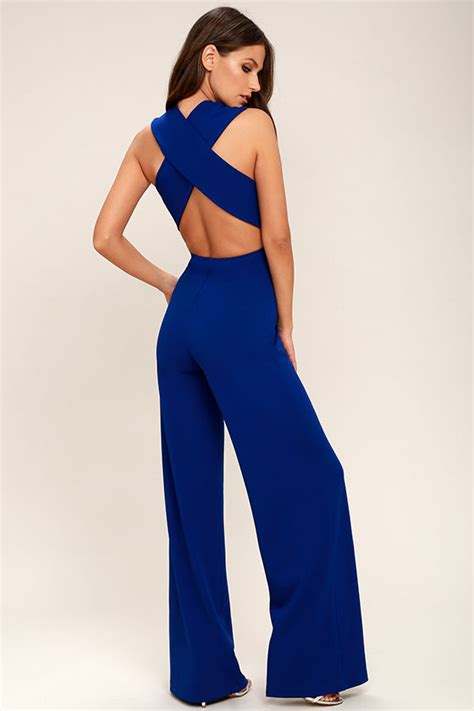 blue jumpsuit womens cheap price royal blue thinking out loud backless jumpsuit