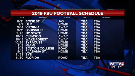 florida state football releases schedule