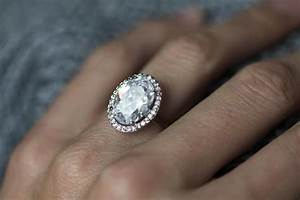 large gold oval fb moissanite and diamonds halo engagement With big oval wedding rings