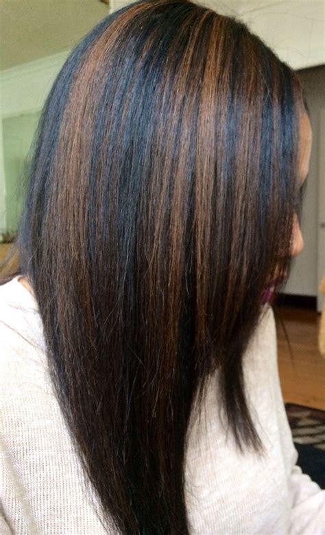 black hair  caramel highlights hair   black