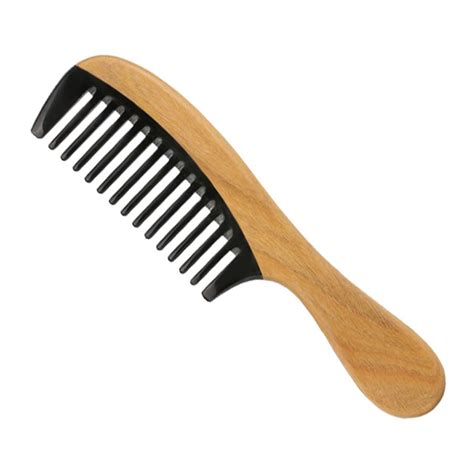 cheap hair styling tools wide tine ox horn sandalwood hair comb professional hair 4187