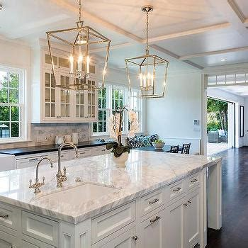 lantern lights kitchen island white marble top island with backless black rattan stools 8882