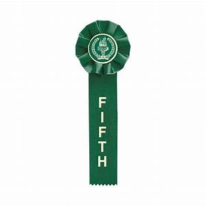 5th Place Green Preprinted Rosette Ribbon | Dinn Trophy