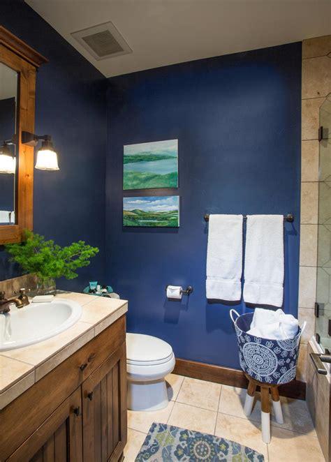 rustic style bathroom  navy walls hgtv