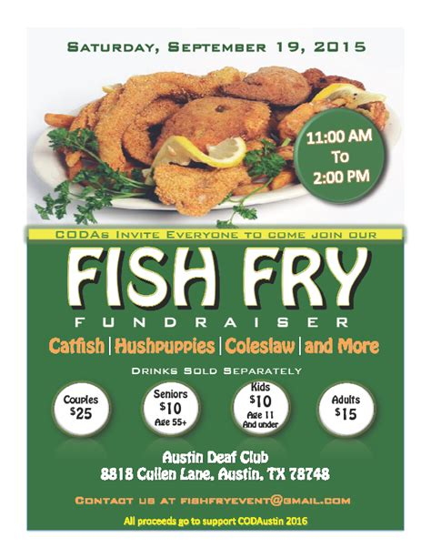 Coda's Fish Fry Fundraiser 2015  Austin  Deaf Network Of. Wedding Seating Plan Template. Process Mapping Template Word. Blue Graduation Dresses For 8th Grade. Christmas Party Flyer Template. Open House Template. Raffle Ticket Sign. Average Salary Of Mba Graduate. Hip Hop Competition