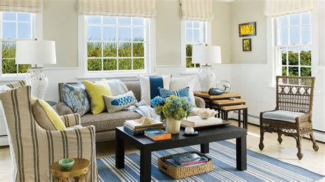 Cape Style Home Decorated Classic Color And Pattern by 40 Beautiful Beachy Living Rooms Coastal Living