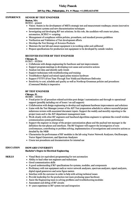 Rf Test Engineer Resume Samples  Velvet Jobs. Awesome Resume Ideas. Human Resources Manager Resume Sample. Er Rn Resume. Sample Resume For Mechanical Engineer Fresher. How To Make A Resum�. References Format For Resume. It Professional Resume Format. Sales Words For Resume