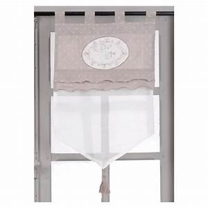 Voilage Brise Bise : voilage brise bise taupe et blanc 60 x 70 cm ~ Teatrodelosmanantiales.com Idées de Décoration