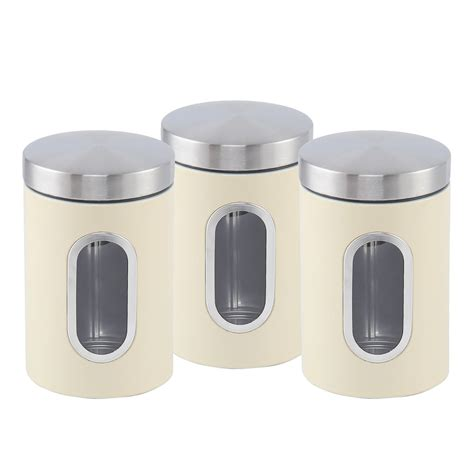 kitchen storage tin set 3pc canister set stainless steel tea sugar coffee jar lid 6198