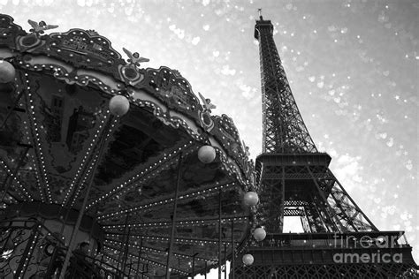 eiffel tower carousel black white surreal photo eiffel tower black white and