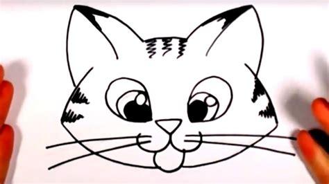 draw  cute kitten face tabby cat face drawing